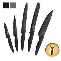 Juego de 5 cuchillos + pelador | Acabado motivo granito